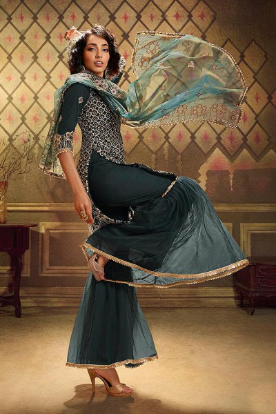 Dark Teal Sequin Embellished Net Sharara Suits