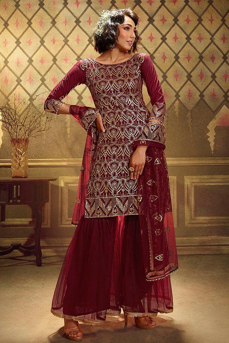 Crimson Sequin Embellished Net Sharara Suit