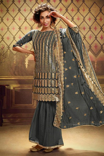 Grey Sequin Embellished Net Sharara Suit