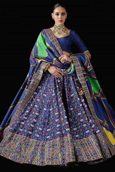 Royal Blue Patola Silk Designer Lehenga