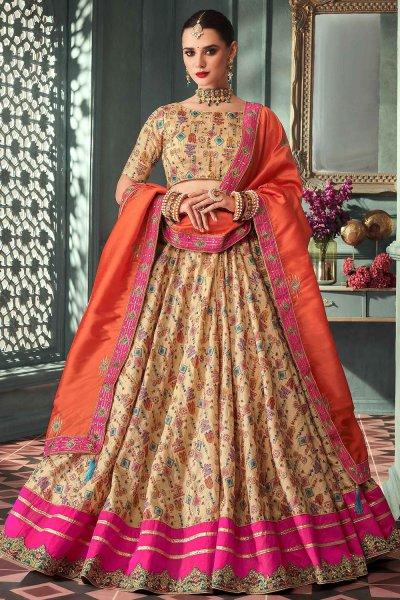 Dark Beige Zari Embroidered Indian Designer Silk Lehenga