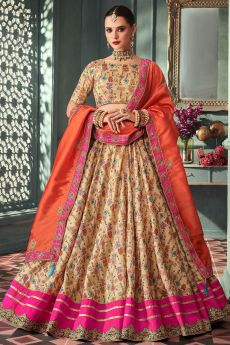 Dark Beige Zari Embroidered Indian Designer Silk Lehenga