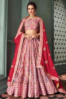 Baby Pink Indian Designer Silk Lehenga with Intricate Zari Work