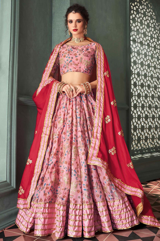 Baby Pink Indian Designer Silk Lehenga with Intricate Zari Work
