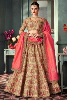 Dark Beige Silk Zari Embroidered Indian Designer Lehenga