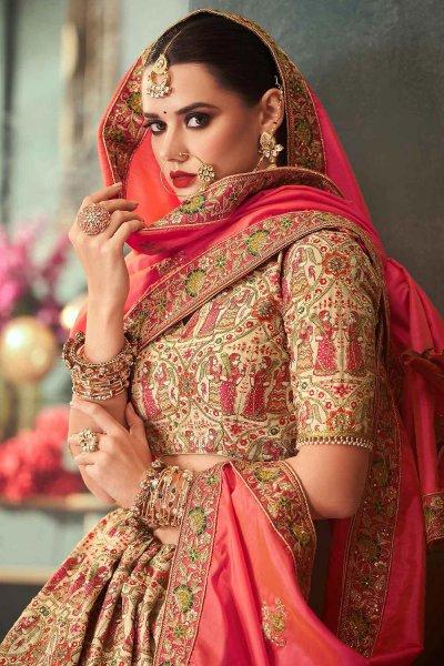 Dark Beige Silk Zari Embroidered Indian Designer Lehenga