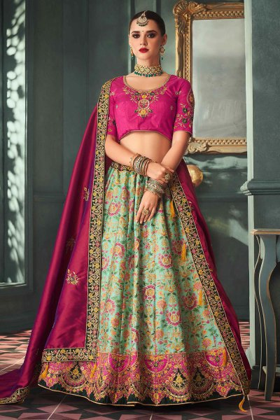 Pink and Mint Zari Embroidered Indian Designer Silk Lehenga