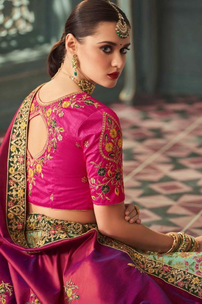 Pink and Mint Zari Embroidered Indian Designer Silk Lehenga