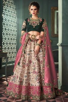Beautiful Zari Embroidered Indian Designer Silk Lehenga