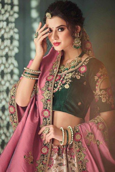 Beautiful Zari Embroidered Indian Designer Silk Lehenga