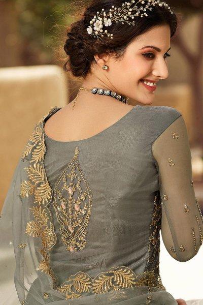 Grey Net Zari Embroidered Straight Cut Kurta with Lehenga