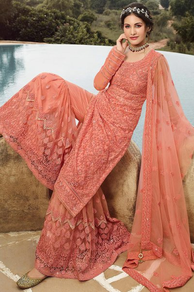 Peach Net Resham Embroidered Sharara Suit with Sequin Detailing