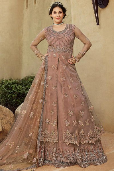 Pale Mauve Zari Embroidered Designer Anarkali with Lehenga/Pant