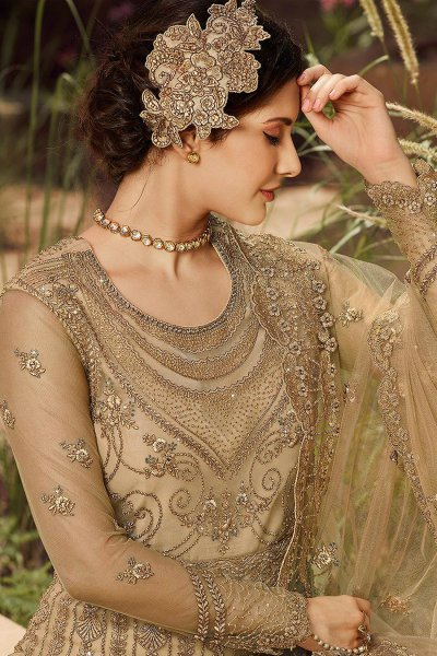 Beige Zari Embroidered Anarkali Suit with Stone Embelishments