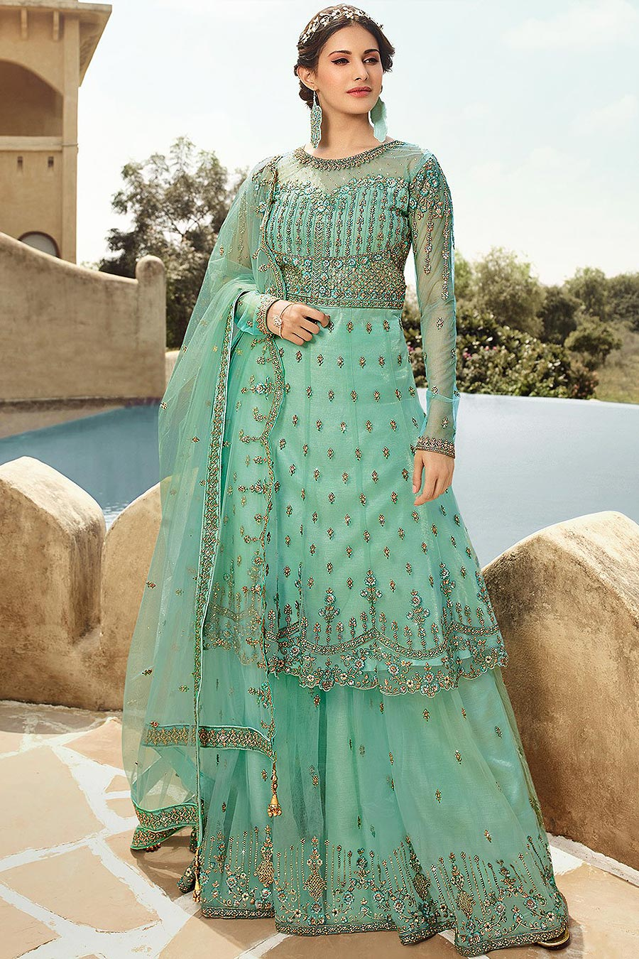 Mint Green Zari Embroidered Flared Palazzo Suit