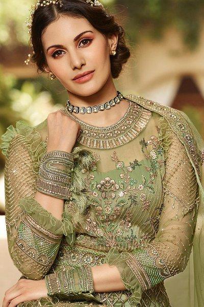 Pastel Green Zari Embroidered Designer Anarkali Suit