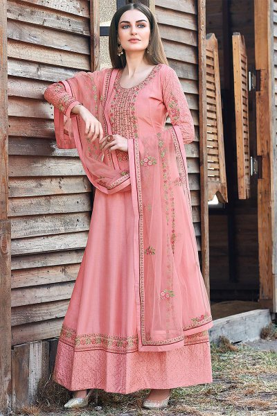 Pink Beautiful Embroidered Dola Silk Anarkali Suit