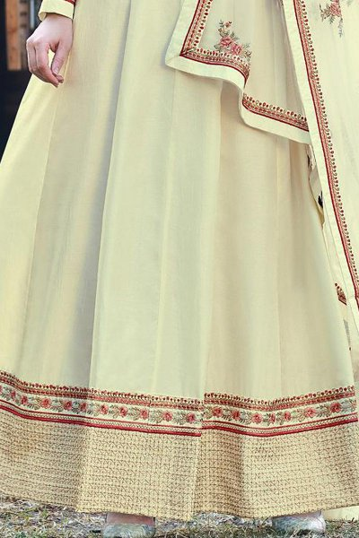 Pale Yellow Beautiful Embroidered Dola Silk Anarkali Suit