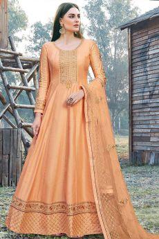 Orange Beautiful Embroidered Dola Silk Anarkali Suit
