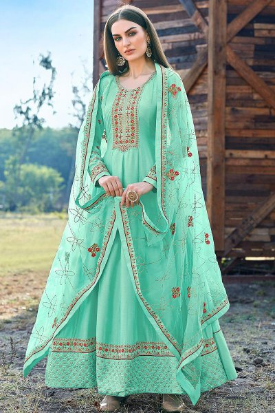 Sea Green Beautiful Embroidered Dola Silk Anarkali Suit