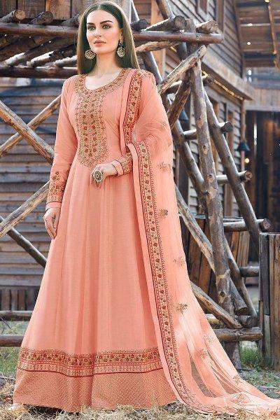 Peach Beautiful Embroidered Dola Silk Anarkali Suit