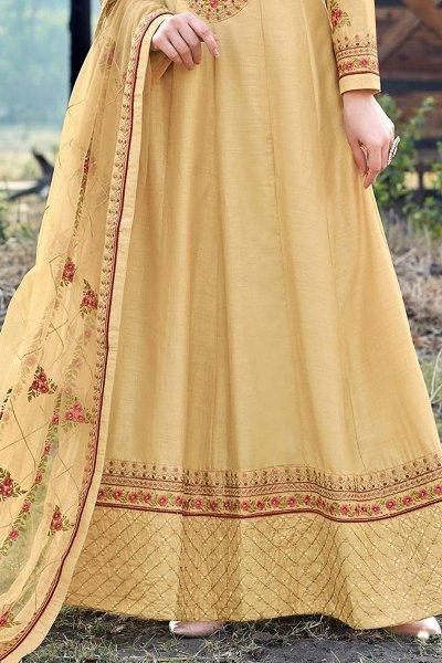 Light Mustard Beautiful Embroidered Dola Silk Anarkali Suit
