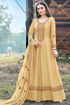 Light Mustard Beautiful Embroidered Dola Silk Anarkali Suit