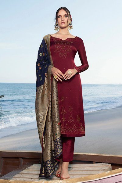 Maroon Satin Georgette Straight Suit with Jacquard Silk Dupatta