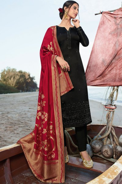 Black Satin Georgette Straight Suit with Jacquard Silk Dupatta