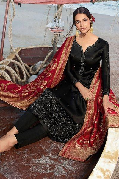 Black Satin Georgette Straight Suit with Jacquard Silk Dupatta