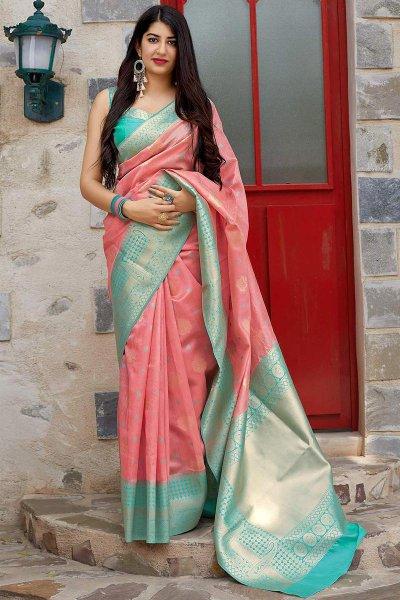 Coral and Mint Elegant Banarasi Silk Saree