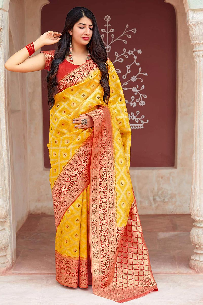 Yellow and Red Party Wear Banarasi Silk Saree