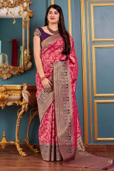 Pink Party Wear Banarasi Silk Saree
