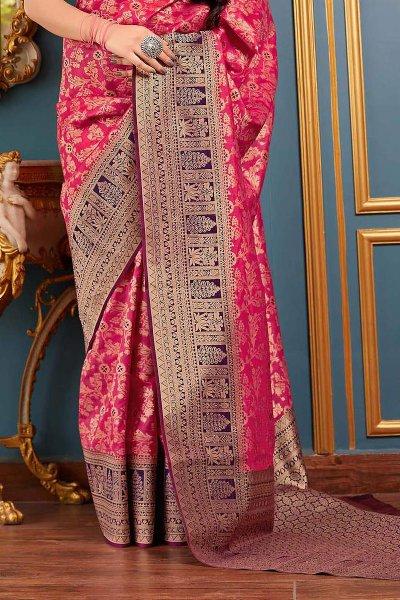 Pink Party Wear Banarasi Silk Saree