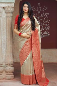 Beige and Red Party Wear Banarasi Silk Saree