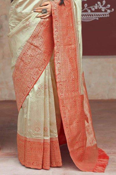 Beige and Red Party Wear Banarasi Silk Saree