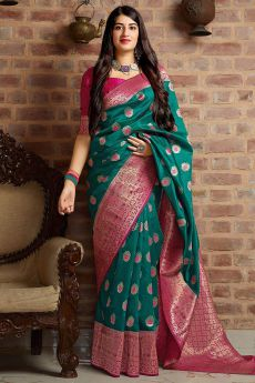 Dark Teal and Pink Party Wear Banarasi Silk Saree