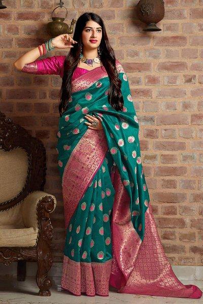 Dark Teal and Pink Party Wear Banarasi Silk Saree