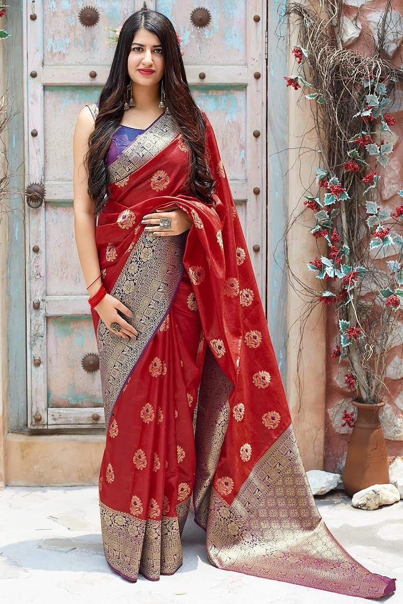 Crimson Red Party Wear Banarasi Silk Saree