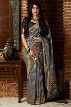 Metallic Grey Party Wear Banarasi Silk Saree