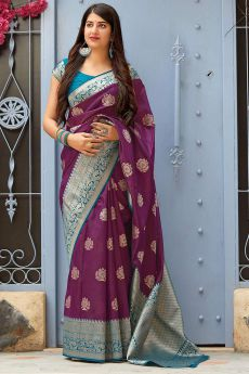 Purple Party Wear Silk Saree