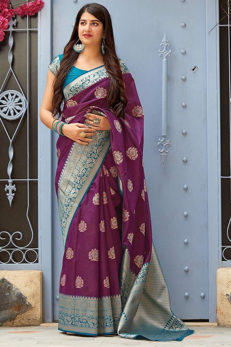 Purple Party Wear Silk Saree