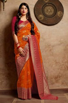 Orange and Red Party Wear Banarasi Silk Saree