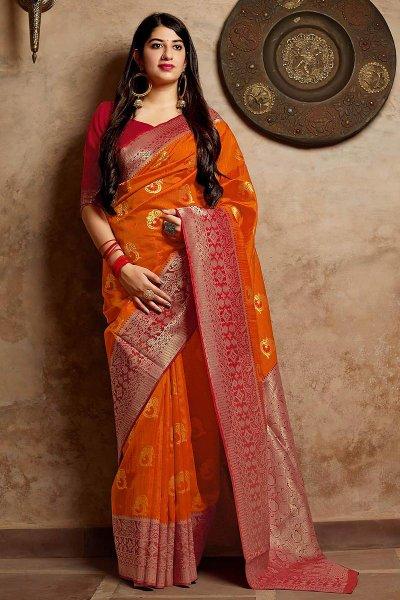 Orange and Red Party Wear Banarasi Silk Saree