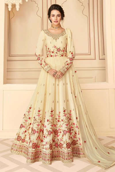 Party Wear Silk Anarkali in Pale Yellow with Beautiful Floral Zari Embroidery