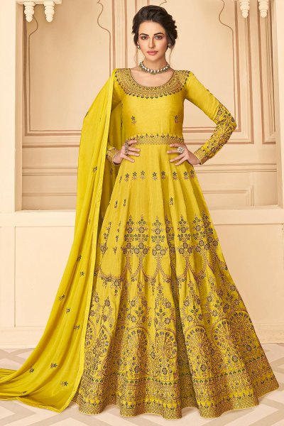 Silk Anarkali Suit with Floral Zari Embroidery