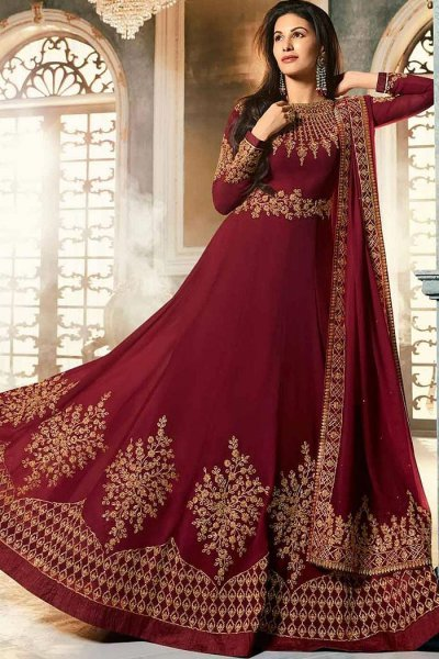 Stunning Maroon Party Wear Georgette Anarkali Suit