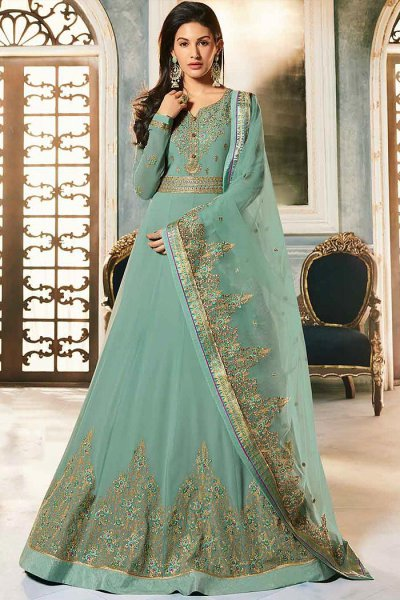 Light Sea Green Georgette Party Wear Anarkali Suit