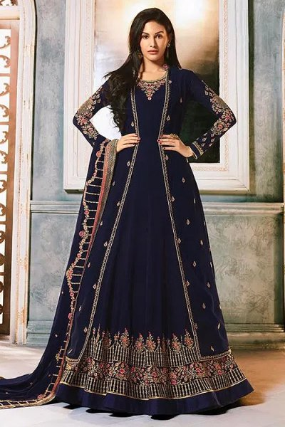 Navy Blue Georgette Party Wear Jacket Style Indian Suit
