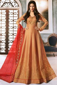 Beautiful Silk Anarkali Suit with Stone Detailing